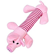Striped Pig Design Pet Puppy Dog Chew Squeaker Sound Toy-Pink