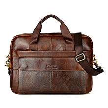 Xiuxingzi Men's Leather Messenger Shoulder Bags Business Work Briefcase Laptop Bag Handbag