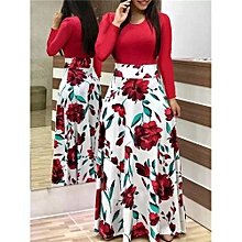 b778b189cc54 HOT Women's Dress Floral Printed short Sleeve Dresses Red