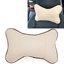 Four Seasons Breathable Leather Surface Car Neck Pillow Head Pillow(Beige)