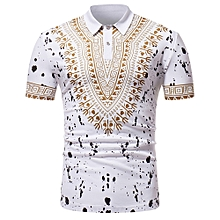 Leadsmart ZT - PL02 Men African Print Pullover Short Sleeve Summer Casual Shirt with Turn-down Collar