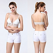 Sexy Women's Lace Cut Out Bra Crop Top Club Bralette Bustier Strappy Vest WH-White