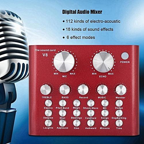 External USB Audio Mixer Mobile Computer PC Live Sound Card Headset Karaoke  Microphone