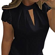 0e8d76888def4 Xiuxingzi Women Casual Chiffon Short Sleeve Splice Lace Crop Top Blouse