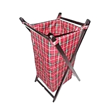 Foldable Laundry Basket - Masai Red with Black Stands