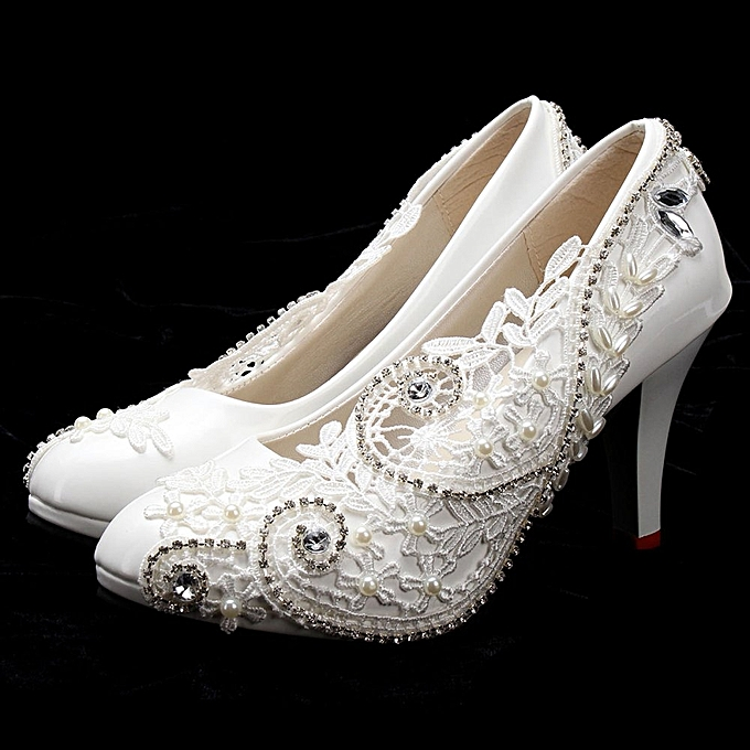 e510539dbea0ac Women Lace Bead Crystal Wedding Shoes Bridal Bridesmaid shoe Heels Party  Pumps