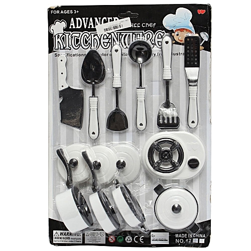 Universal 11pcs Kids Pretend Role Play Toy Kitchen Utensils Pots Pan