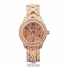 Metal Bracelet Quartz Bracelet Gold Bracelet Crystal Diamond Gold Watch -pink