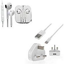 IPhone /IPad/Ipod Charger with White Earpod/Earphone