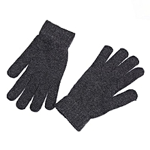 Men Solid Color Warm Knitting Fleece Lined Wool Thickening Gloves Color:Dark Gray Size:free Size