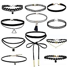 bluerdream-11 Pieces Choker Necklace Set Stretch Velvet Classic Gothic Tattoo Lace Choker-Black