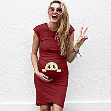 444148a686bf2 Women Short sleeve Pregnant Maternity Dress Solid Cartoon Print skirt
