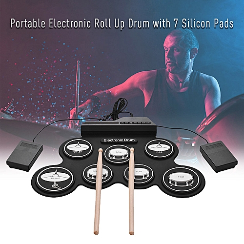 Electronic Drum Set, Portable Electronic Drum Pad - Black