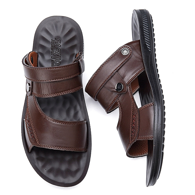 f1f9e7ac43f3 ... Men Comfy Sole Genuine Leather Sandals Two Way Wear Shoes Beach Shoes  ...