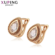 XUPING 18K fashion Crystal Earrings-Gold