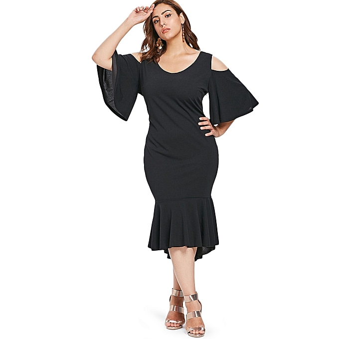 856ba123c166 Generic Fashion Leadsmart Plus Size Cold Shoulder Scoop Neck Bodycon ...