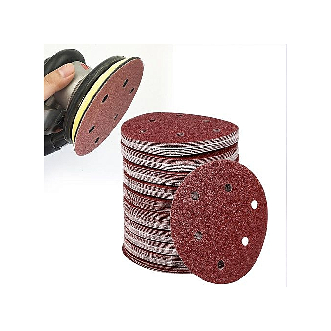 100% Quality 100pcs 5 125mm With 6 Hole White Sander Sand Paper Sanding Disc Sanding Sheets Back To Search Resultstools
