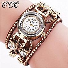 Olivaren CCQ Brand Vintage Bracelet Watch Women Wristwatch Quartz Brown