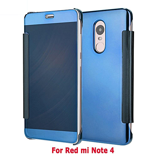 reputable site 7c0ab 79f6b New Fashion 360 Degree Luxury Mirror Clamshell Hard Shell Flip Wallet Case  For Xiao Mi Red Mi Note 4, Soft Leather Flip Wallet Smart View Mirror Clear  ...