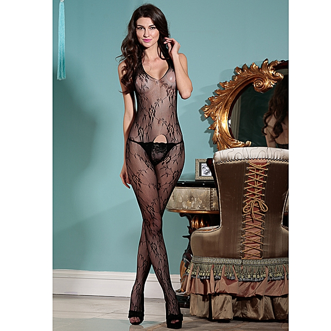 c973792925b ... Sexy Exotic Women Body Stocking See Through Mesh Halter V Sleeveless  Backless Open Crotch Sexy Fishnet