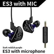 New KZ ES3 1DD+1BA Hybrid In Ear Earphone HIFI DJ Monito Running Sport Earphones Earplug Headset Earbud KZ ZST KZ ZS5 KZ ZS6 - With Mic