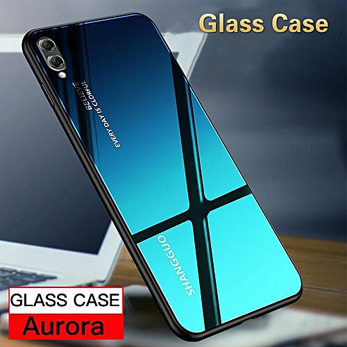 Gradient Glass Case For HUAWEI Y7 Pro 2019 Case Tempered Glass Full  Coverage Cover For HUAWEI Y7 PRO 2019 Casing (Y7 Pro 2019-Blue)