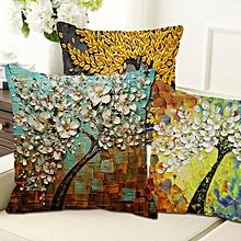 Honana WX-136 45x45cm 3D Vintage Flower Elephant Cotton Linen Pillow Case Cushion Cover Home Car Decor