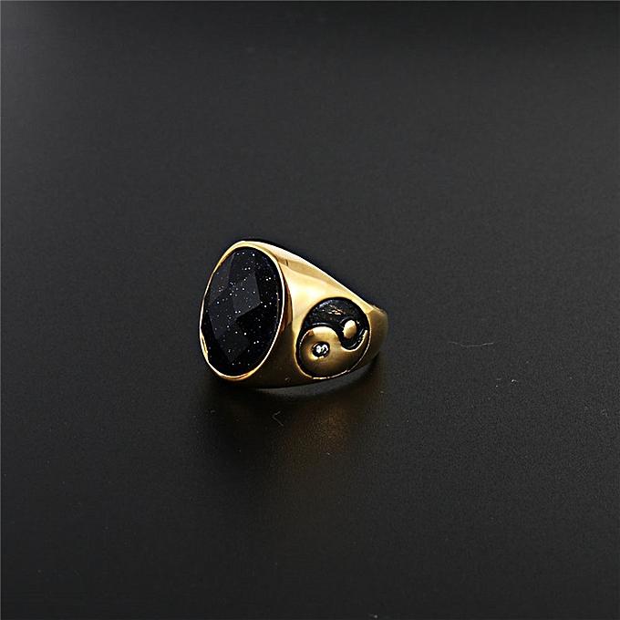 Sell well black precious stone ring of punk rock'n roll goss