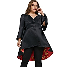 Plus Size Lace Up High Low Skirted Coat - BLACK