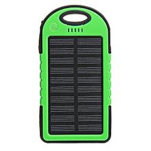 4 Colors 5000mAh Solar Power Bank Dual 2 USB Waterproof Portable Charger Case(green)