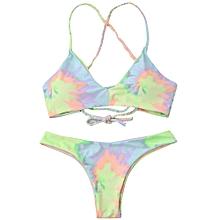 Tie Dye Braided Criss Cross Bikini Set-LIGHT YELLOW