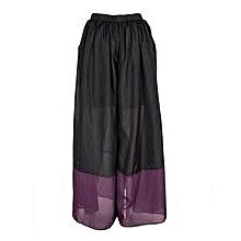 Black And Purple Chiffon Palazzo Pants