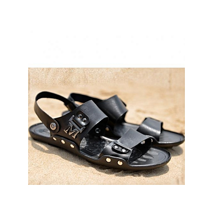 1b4651416cf2ef Generic Black Genuine Leather Men Gladiator Sandals   Best Price ...