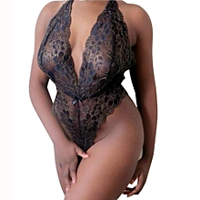 singedanSexy Lingerie Women Underwear Babydoll Sleepwear Lace Nightwear G-string BK XXL -Black