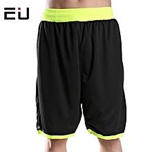 Big Size Men Boy's Basketball Training Sports Shorts-Black Green(001)
