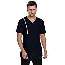 Mens Casual V-Neck Short Sleeve Zipper T-Shirt ( Navy Blue )