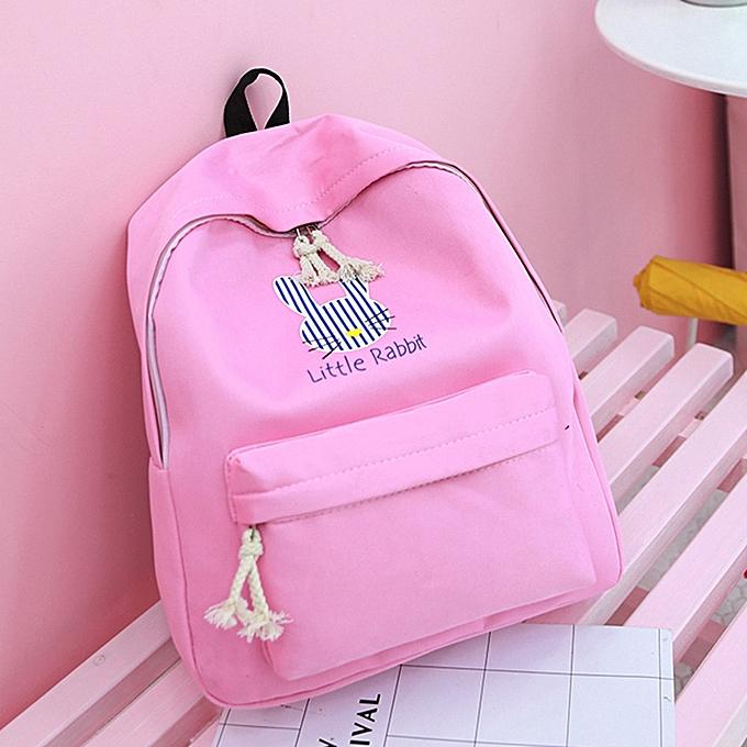 342e4b8aaf jiuhap store Women Girls Cute Cartoon Rabbit Preppy Style School Bag Travel  Backpack Bag -Pink