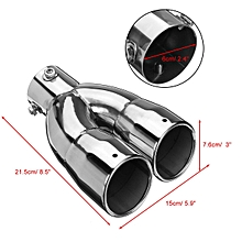 Stainless Steel Dual Exhaust Tip 6cm Inlet Car Muffler Tail Pipe Silver