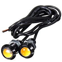 Pair 3W 18mm LED Eagle Eye Light Car Daytime Running Light DRL Lamp Yellow