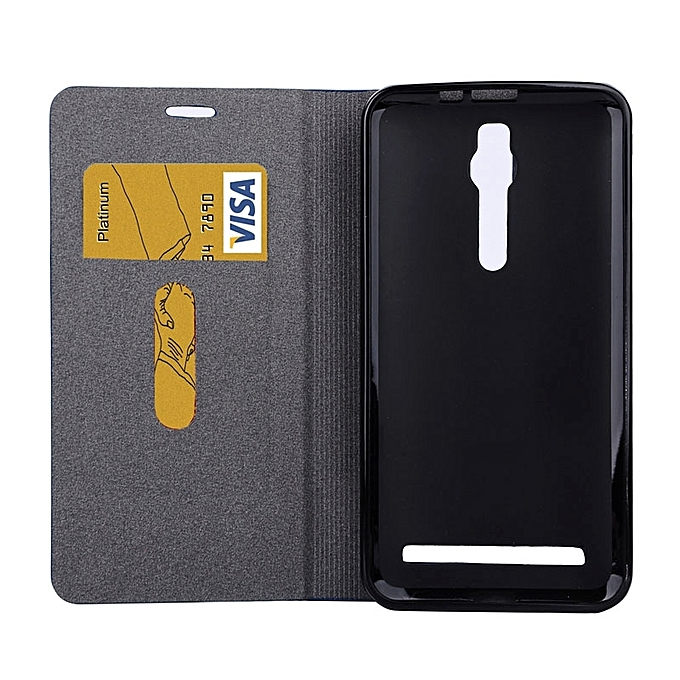 Buy Generic Horizontal Flip Canvas Leather Case With Card Slot & Holder For Asus Zenfone 2