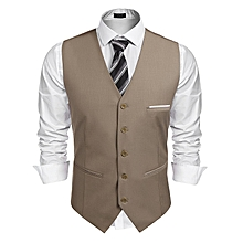 Men V-Neck Sleeveless Patchwork Slim Fit 5-Button Business Suit Vest-Coffee
