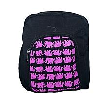 Black canvas trendy school bag with elephant print