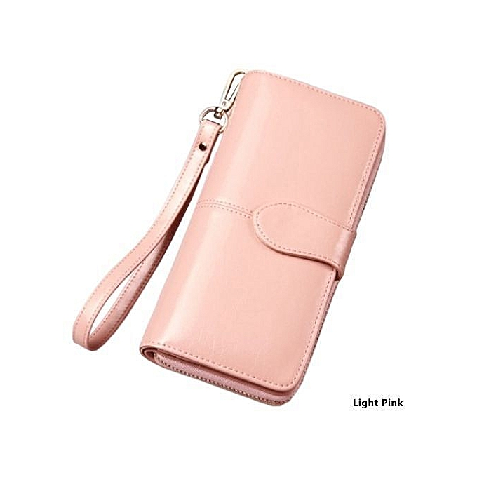 Women s Large Capacity Wallets Ladies Purse Oil Wax Leather Long Wallet  Phone Pocket Purse Zipper Pocket 6589b7ba95