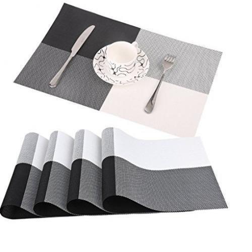 Table Mat - 45cm x 32cm - 6Pcs - Black & White