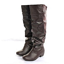 7bf49da1231 Women Winter Warm Shoes Leather Casual Flat Heel Knee High Boots Long  Rainboots brown