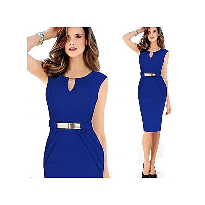 Midi Dress Sleeveless V-neck Solid Vestidos Knee-length Elbise Bodycon Dress  Office Work ceafe007da