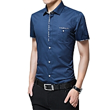 Casual Youth Men's Fashion Business Formal Plain Top T Shirts-Lake Blue
