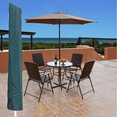 Garden Patio Parasol Umbrella Cover Bag Green Fit 7ft Draw String Neck