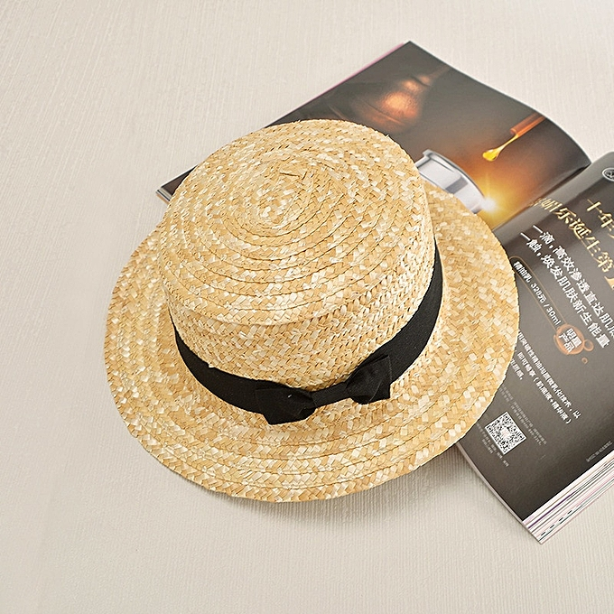 9abc8f836 summer Flat sun hats for women chapeau feminino straw hat style cappelli  Side with bow Beach