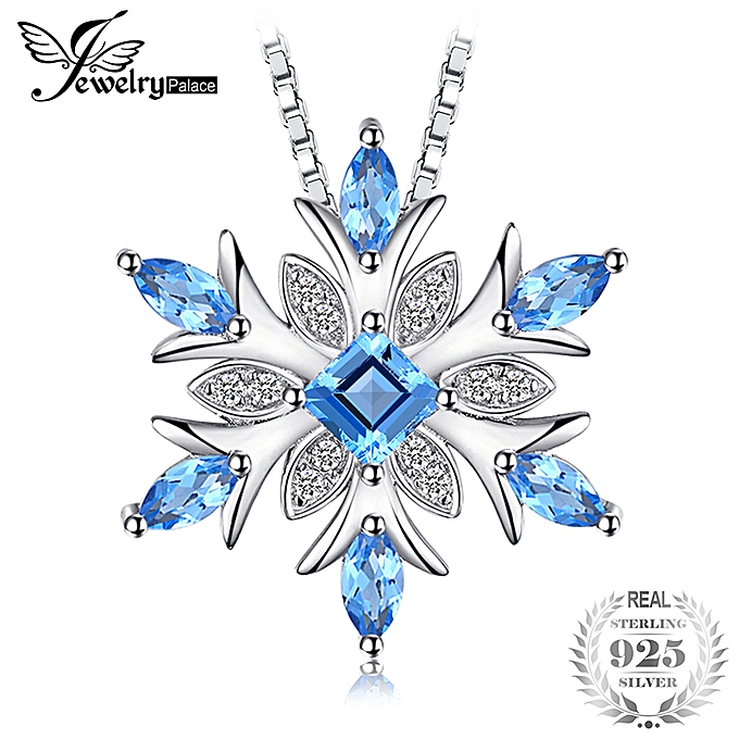 782c16122895d1 Snowflake Natural Swiss Blue Topaz Solid 925 Sterling Silver Pendant  Necklace 18 Inches Box Chain